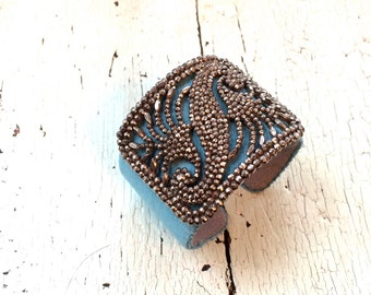 Ultrasuede and Antique Steel Adjustable Cuff