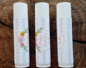 Personalized Lip Balm Stickers -- Flower Crown -- Custom Chapstick Labels, Shower Favors, Wedding Favors
