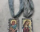 RESERVED Listing 2 Saint Agnes Soldered Pendants with Silk Sari Ribbon