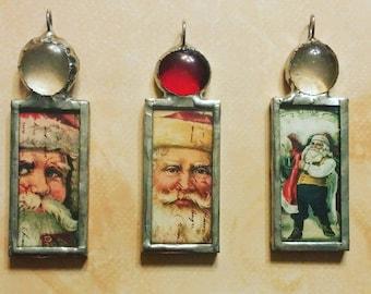 Vintage Santa Images Soldered Christmas Ornaments FREE Shipping