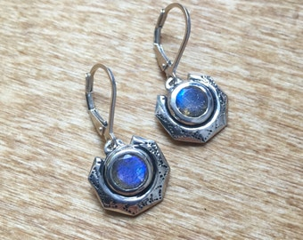 Faceted Labradorite and Sterling Silver- Eclipse Earrings