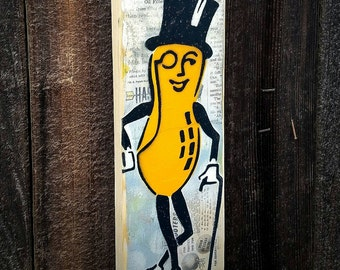 Mr Peanut Man Graffiti Painting on Canvas Pop Art Style Original Artwork Stencil Urban Street Art Vintage Kitchen