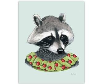 Raccoon Lady art print 5x7
