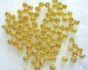 Bead Gold plated Filigree Round 4mm ( 100 )