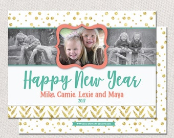 Photo new years card in coral and gold, 2017 - coral and gold foil new year card, 2017 new year card, printable or printed cards