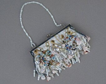 Mermaid's Evening Bag Beaded Silver Metallic Fabric with Sea Shells & Sequins 1990s Vintage