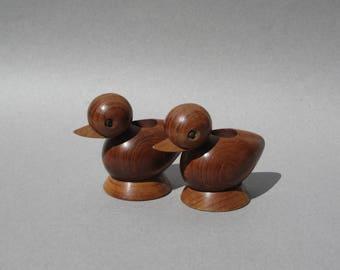 Teak Duck Candle Holders Mid Century Modern Eames Era Danish Modern Style Pair of Wooden Ducks