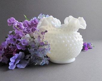 Vintage Milk Glass Hobnail Vase, Large Vase, Translucent Milk Glass, Wedding Centerpiece, Milk Glass Hobnail Flower Pot, Planter, Fenton