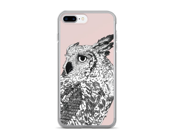 "cell phone case, iphone 6, iphone 6 plus, iphone 7, girly, owl, pink, black and white, modern, cell phone, birds - ""Dreaming of Full Moons"""