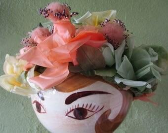 Vintage 50s 60s Spring Bouquet Garden Hat Silk Floral Yellow Orange Green Church Derby