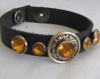 Bracelet #Armband #Amber #Black Leather #Southwestern style #Men Woman Teens
