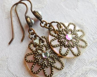 Selma, Antique Mother of Pearl Shell Button/Sequin Earrings