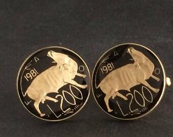 San Marino coin cufflinks 200 Lire  23mm