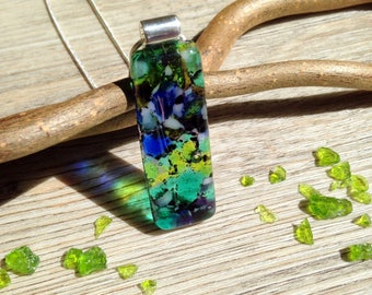 Blue Gift Jewelry / Boho Jewellery / Green Gift Jewellery / Green Necklace / Nature Jewellery / Long Necklace / Silver Glass Necklace