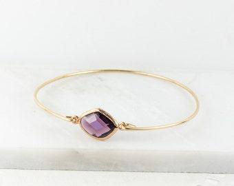 Amethyst Gold Bangle, February Birsthstone Gold Bracelet, Amethyst Bangle Bracelet, Amethyst Gold Bracelet, Bridesmaid Jewelry