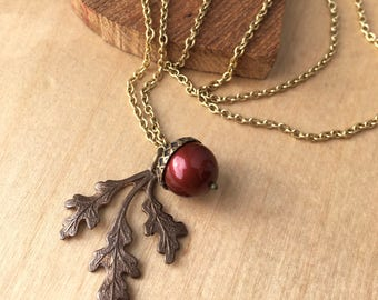 Brass Acorn and Oak Leaf Necklace - Deep Red