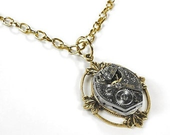 Steampunk Jewelry Womens Necklace Vintage Jewel Watch Brass LOTUS LEAF Pendant Anniversary Mom Birthday Pendant - Steampunk by edmdesigns