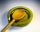 Olive Green Spoon Rest - Pottery Spoon Rest - Ceramic Spoon Holder - Wheel Thrown Utensil Holder