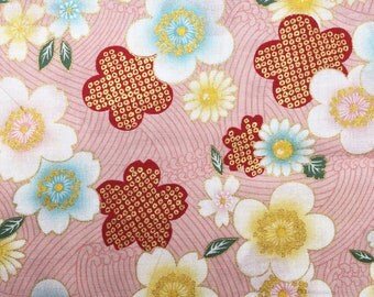 Cherry Blossoms and waves in pink Japanese cotton quilting fabric sakura