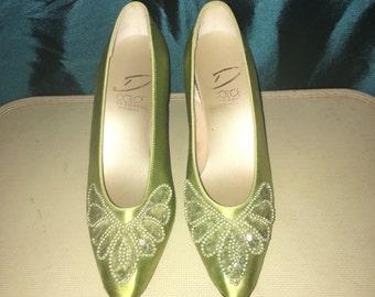 1960's Dolce by Pierre  Heels Pumps Green Satin Sequin Applique Size 7L
