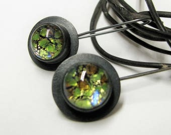 Argentium Sterling Silver And Vintage Dragons Breath Glass Cabochon Earrings, Modern Art Jewelry, Colorful Earrings, Contemporary Earrings