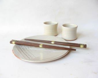 Sushi Plate and 2 Sake Cups, Pottery Sushi Set, Sushi Plate