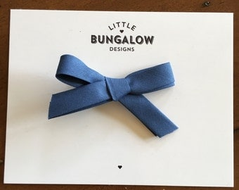 Blue Denim School Girl Bow Headband // Fabric Hand-tied Bow // School Girl Bow // Nylon Headband // Mini Fabric Bow // Bow Hair Clip