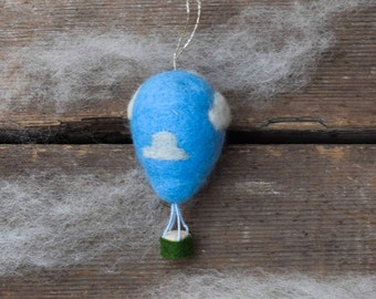 In the Clouds Hot Air Balloon - Needle Felted Christmas Ornament
