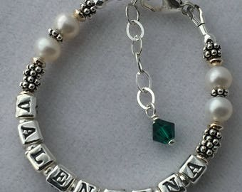 Freshwater Pearl Name Bracelet, Baby Pearl Name Bracelet, First Communion Bracelet, Baptism Name Bracelet, Birthstone Name Bracelet