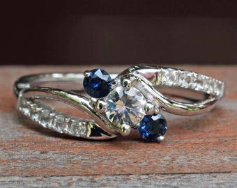 White and Blue Sapphire Wedding Set in 14k White Gold - audreypeters525 - 7th payment