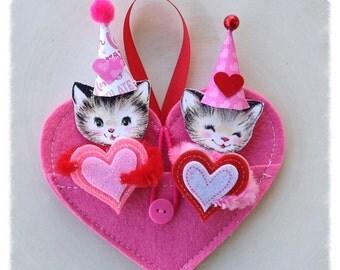 Valentine Decoration Hanging Heart Pocket with Cats Valentine Ornament  Valentine Party TVAT
