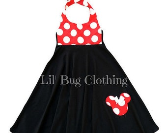 Minnie Mouse Dress, Red White Jumbo Dot Minnie Mouse Dress, Minnie Mouse Birthday Girl Dress, Custom Boutique Minnie Dress,