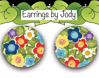 NEW Post Earrings - Mixed Floral