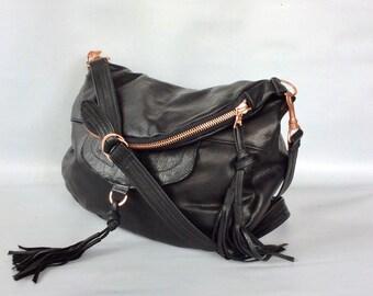 Alberta leather bag in black - copper/rose gold hardware