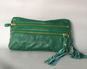 9 pocket clutch/ XL wallet in green