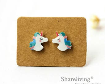 4pcs (2 pairs) Mini unicorn Charm / Pendant, Stud Earring, Laser Cut Tiny Blue unicorn Earring, Perfect for Earring / Rings - YED015D