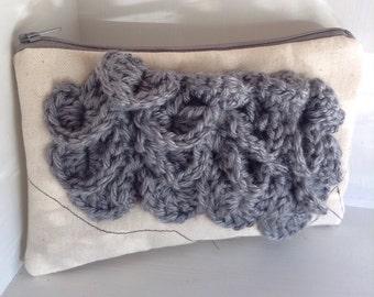 Gift women Grey Handbag clutch fabric handbags, clutch purse canvas handbag purses and handbags, evening bag, crochet bag