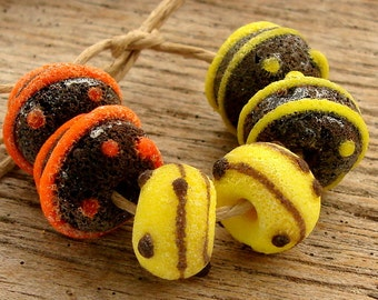 TRICKY - Handmade Lampwork Beads - Earring Pairs - 6 Beads