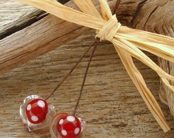 PUFFY HEARTS - Heart Shaped Handmade Lampwork Head Pins - 2 Headpins - #3