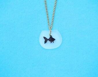 Tiny Black Fish Necklace, Fish Bowl Kawaii Necklace, Fish Necklace,Black Fish Charm, Mini Aquarium Necklace, Fish Bowl Necklace