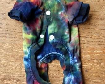 OOAK Tie Dye MultiColor Cotton Pajamas Long Johns Onsie Small Dog -Carla Smale