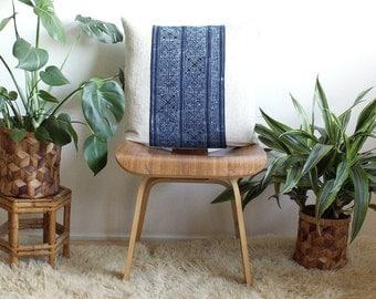 "Indigo Batik Hmong Pillow, Decorative Pillow Cover, Throw Pillow, Boho Modern Pillowcase, 20"" x 20"", Gold Zipper, Boho Style, norwegianwood"