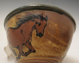Bowl with  brown horses handmade pottery