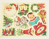 Vintage Christmas Paper Gummed Stickers   Ten Sheets and a Few Extras of Vintage Christmas Stickers  Stickers from the 50s