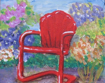 Red Chair in the Garden - Original Painting - 6 x 6 inches