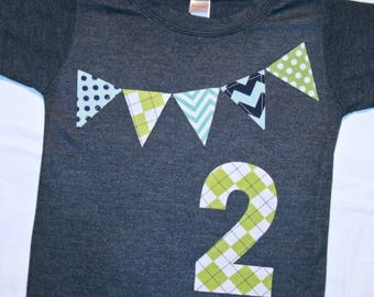 Boys 2nd Birthday Pennant Shirt - Size 2 heather navy short sleeve with number 2 and pennant banner in lime aqua navy chevron and polkadots
