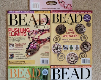 Assortment of 5 back Issues Various Bead Magazines, Bead & Button, Beadwork