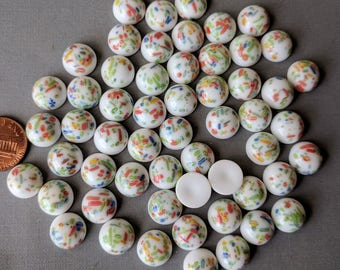 Lot of 10 Japanese 12 mm Glass Millefiori Cabochons,  White Base with Flowers