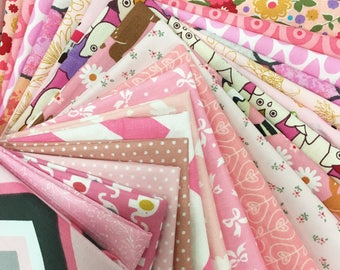 "20pcs Cotton Fabric Scrap Pack - Shade of Pink Fabric Pack 5.5"" x 9"""