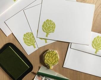 Artichoke flat note cards
